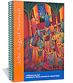 John August Swanson: A Millennium Daybook published by The National Association for Hispanic Elderly is available for sale  			     from Eyekons Books at www.eyekons.com. The Millennium Day Book is 9 x 7 inches and contains 59 full-page color reproductions of  			     John Swansons beautiful serigraphs. The left page features Johns artwork with a colorful border and the right page contains  			     the title of the month, seven open entry spaces for recording daily appointments or diary notes and a detail of a serigraph.  			     The Millennium Day Book is not dated to any particular year. Eyekons Books is a resource for creative books that feature  			     contemporary Christian artists